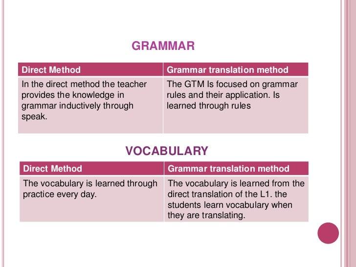 Grammar translation method and Direct method comparasion Slide 3