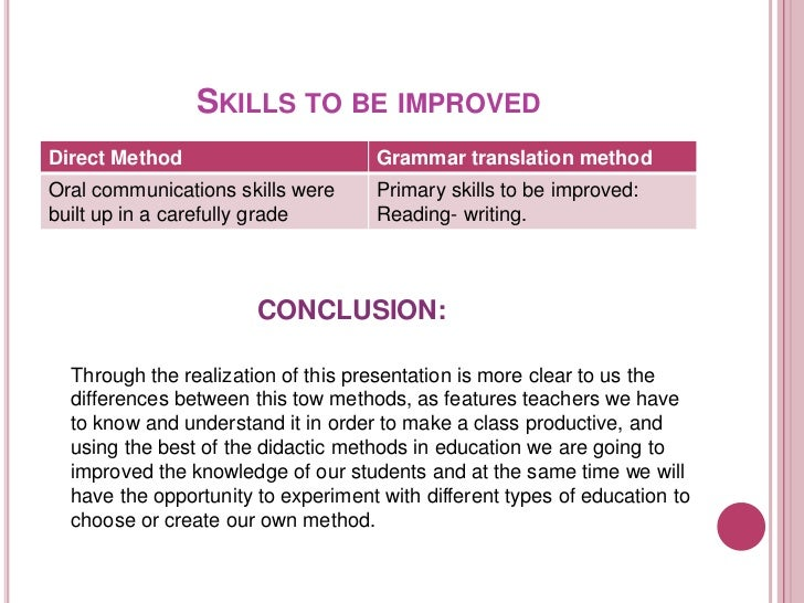 compare and contrast the grammar translation method and the direct method Jill kerper mora the following approaches and methods are described below: grammar-translation approach direct approach reading approach audiolingual approach community language learning the silent way the communicative approach functional notional approach total physical response approach.