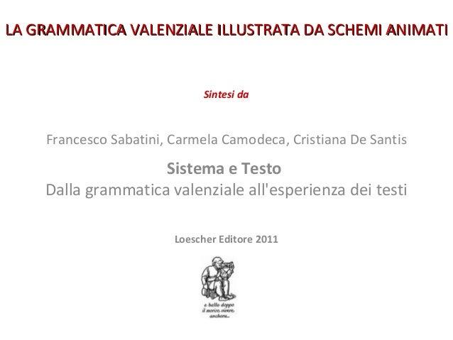 1 Sintesi da Francesco Sabatini, Carmela Camodeca, Cristiana De Santis Sistema e Testo Dalla grammatica valenziale all'esp...