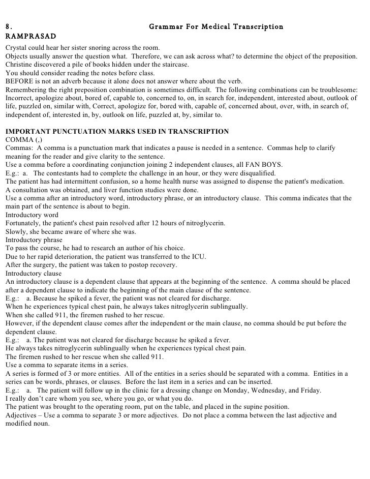 essay for medical transcription