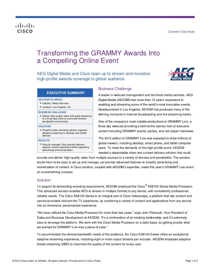 Customer Case Study                        Transforming the GRAMMY Awards Into                        a Compelling Online ...