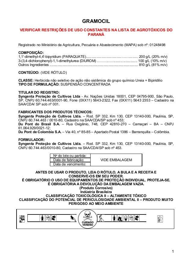 GRAMOCIL VERIFICAR RESTRIÇÕES DE USO CONSTANTES NA LISTA DE AGROTÓXICOS DO                              PARANÁRegistrado n...