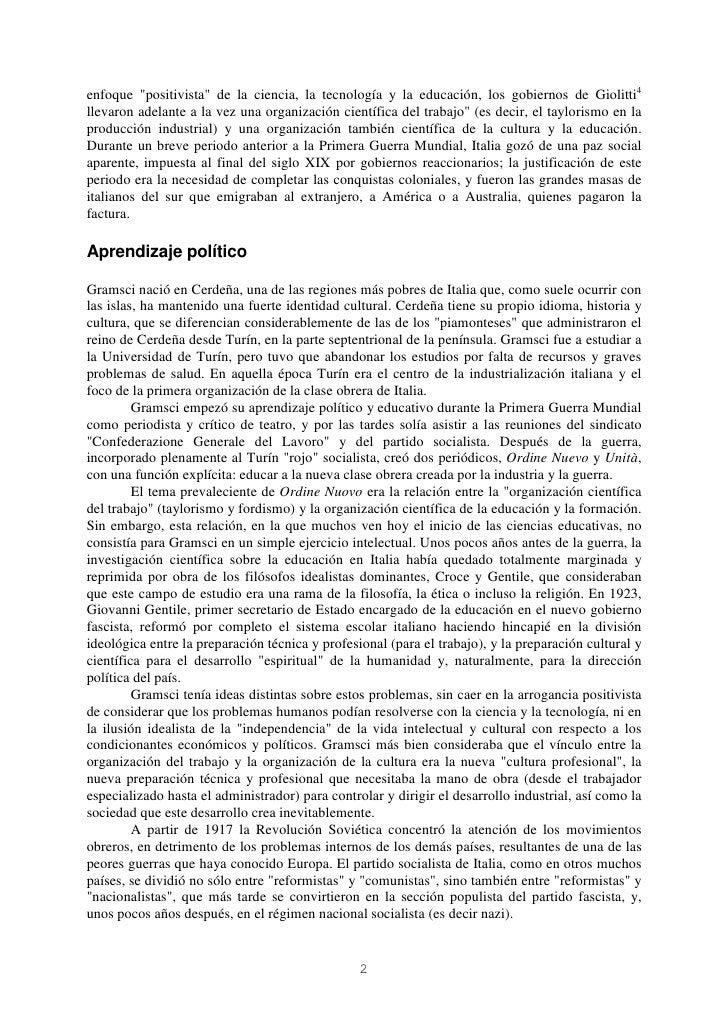 """enfoque """"positivista"""" de la ciencia, la tecnología y la educación, los gobiernos de Giolitti4llevaron adelante a la vez un..."""