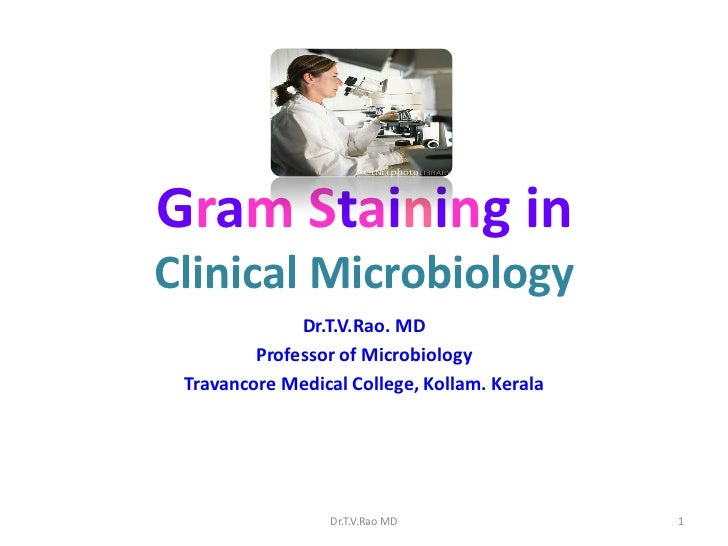 Gram Staining inClinical Microbiology              Dr.T.V.Rao. MD         Professor of Microbiology Travancore Medical Col...