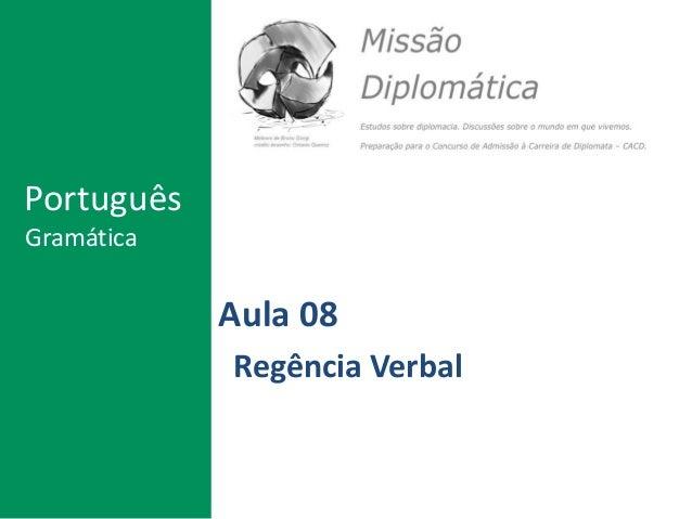 Aula 08 Regência Verbal Português Gramática