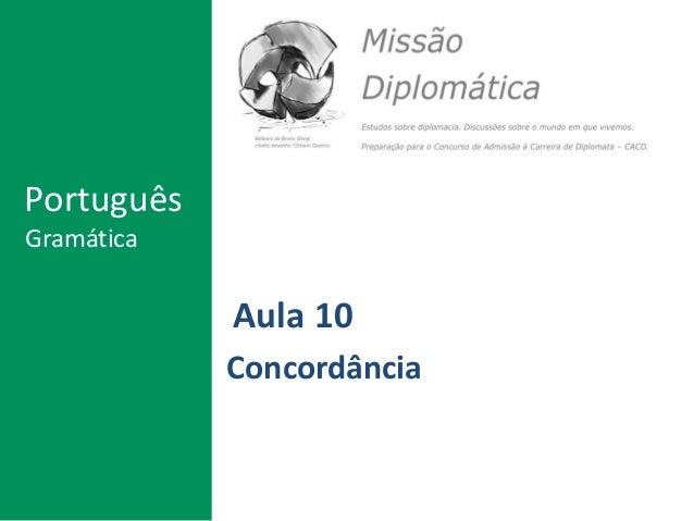 Aula 10 Concordância Português Gramática