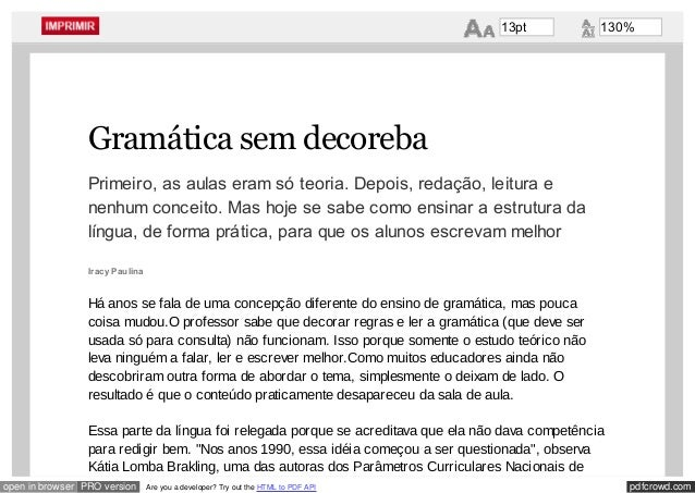 pdfcrowd.comopen in browser PRO version Are you a developer? Try out the HTML to PDF API Gramática sem decoreba Primeiro, ...