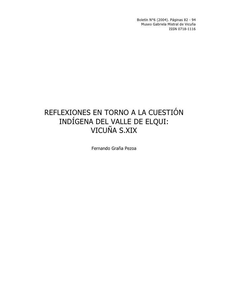 Boletín N°6 (2004). Páginas 82 - 94                                     Museo Gabriela Mistral de Vicuña                  ...