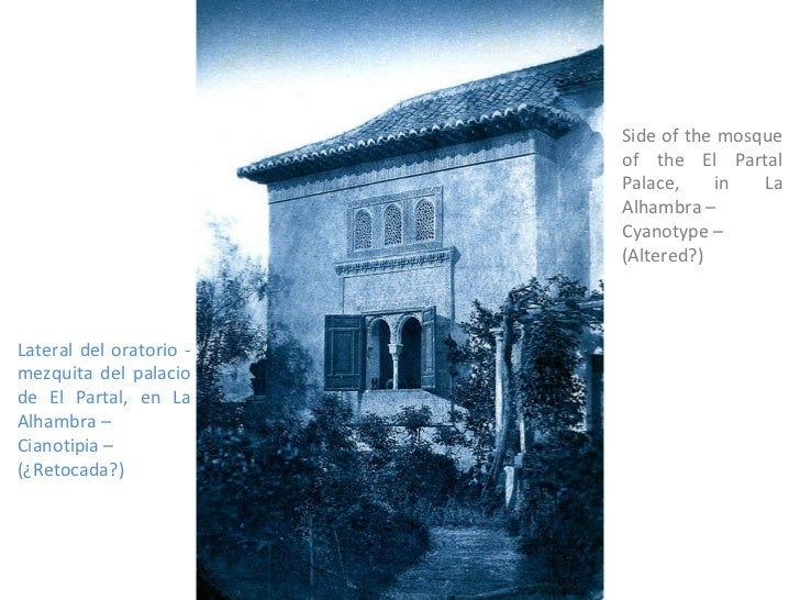 Side of the mosque of the El Partal Palace, in La Alhambra – Cyanotype – (Altered?) Lateral del oratorio -mezquita del pal...