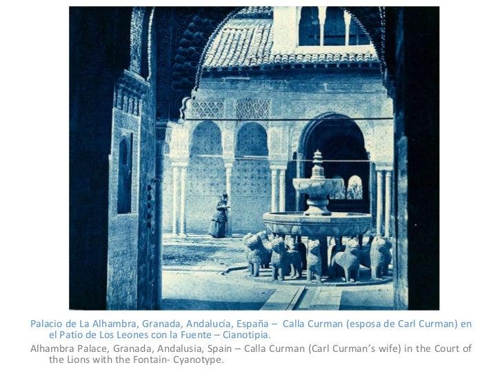 <ul><li>Palacio de La Alhambra, Granada, Andalucía, España –  Calla Curman (esposa de Carl Curman) en el Patio de Los Leon...