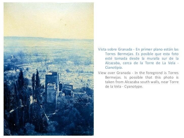 <ul><li>Vista sobre Granada - En primer plano están las Torres Bermejas. Es posible que esta foto esté tomada desde la mur...