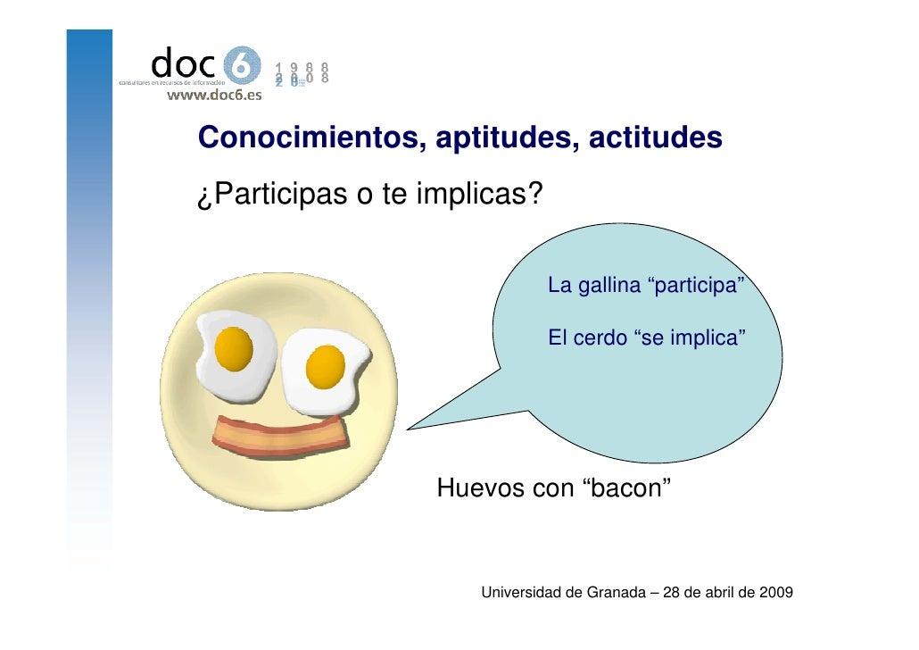 """Conocimientos, aptitudes, actitudes ¿Participas o te implicas?                                La gallina """"participa""""      ..."""