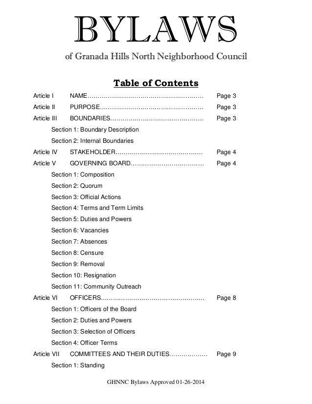 GHNNC Bylaws Approved 01-26-2014 BYLAWSof Granada Hills North Neighborhood Council Table of Contents Article I NAME…………………...
