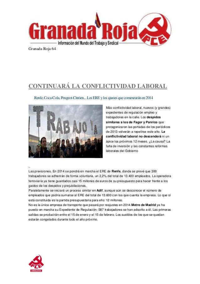 Granada Roja 64  CONTINUARÁ LA CONFLICTIVIDAD LABORAL Renfe, Coca-Cola, Peugeot-Citröen... Los ERE y los ajustes que comen...