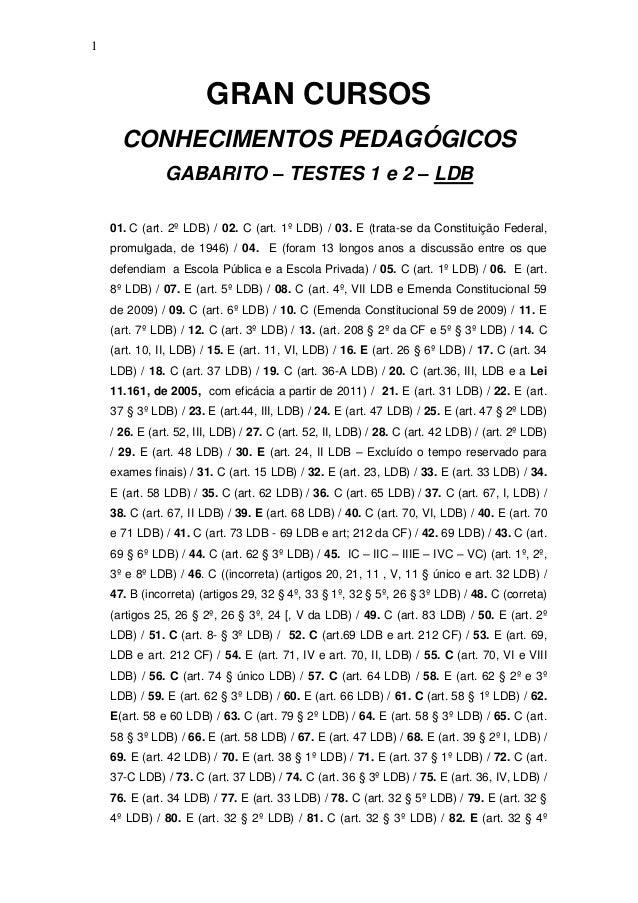 1  GRAN CURSOS CONHECIMENTOS PEDAGÓGICOS GABARITO – TESTES 1 e 2 – LDB  01. C (art. 2º LDB) / 02. C (art. 1º LDB) / 03. E ...
