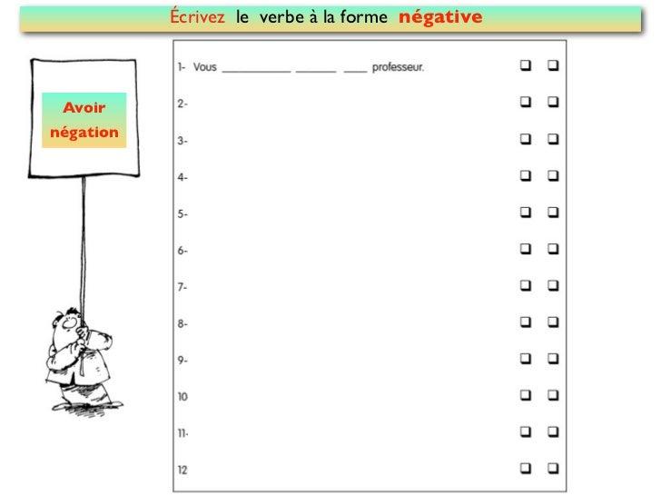 Écrivez le verbe à la forme négative Avoirnégation