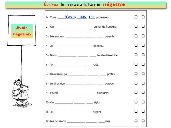 Écrivez le verbe à la forme négative                    n'avez pas de Avoirnégation