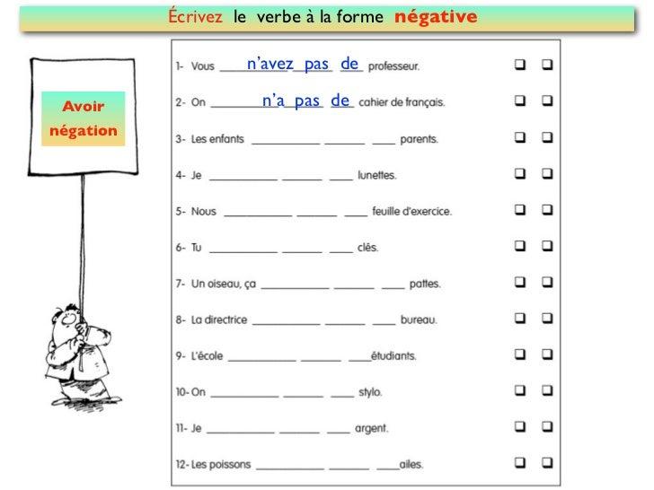 Écrivez le verbe à la forme négative                    n'avez pas de Avoir                n'a pas denégation