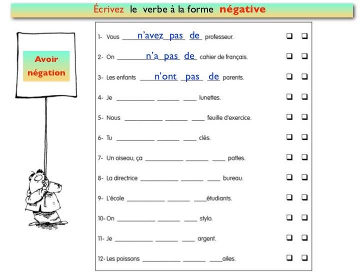 Écrivez le verbe à la forme négative                    n'avez pas de Avoir                n'a pas denégation             ...