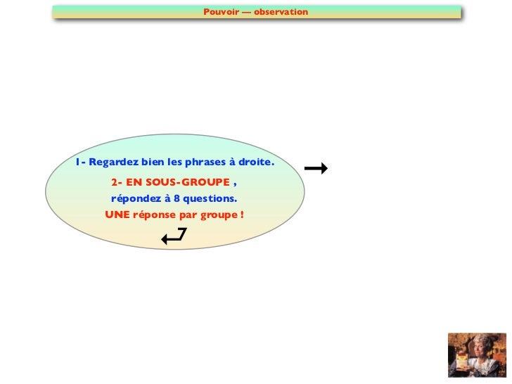 Pouvoir — observation1- Regardez bien les phrases à droite.       2- EN SOUS-GROUPE ,                        répondez à 8...