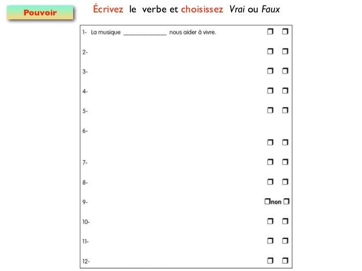 Pouvoir   Écrivez le verbe et choisissez Vrai ou Faux