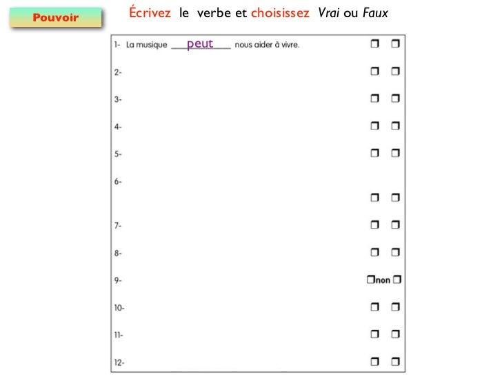 Pouvoir   Écrivez le verbe et choisissez Vrai ou Faux                   peut