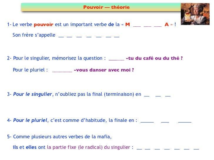 Pouvoir — théorie1- Le verbe pouvoir est un important verbe de la « M ___ ___ ___ A » !  Son frère s'appelle __ __ __ __ _...