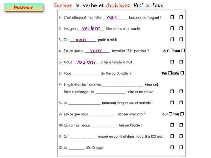 Pouvoir   Écrivez le verbe et choisissez Vrai ou Faux                                veut                     veulent     ...