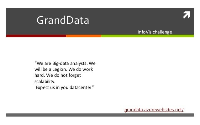 "GrandData                                      InfoVis challenge""We are Big-data analysts. Wewill be a Legion. We do work..."