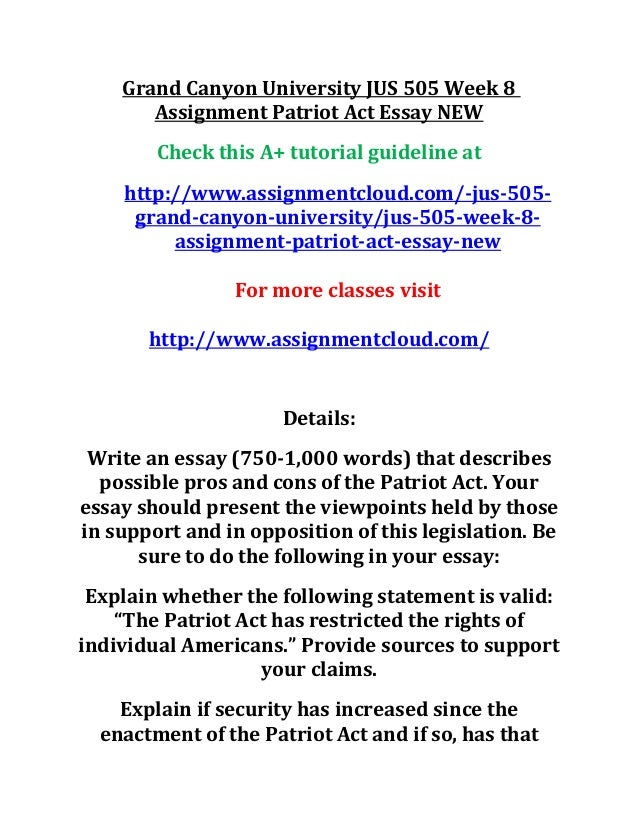 Grand canyon university jus 505 week 8 assignment patriot act essay n…