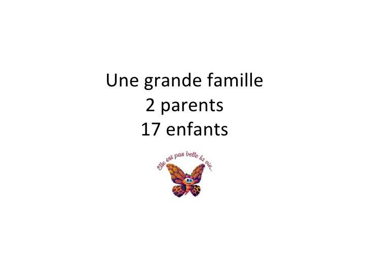 Une grande famille 2 parents 17 enfants