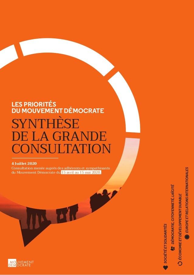 LES PRIORITÉS DU MOUVEMENT DÉMOCRATE SYNTHÈSE DE LA GRANDE CONSULTATION 4 Juillet 2020 Consultation menée auprès des adhér...