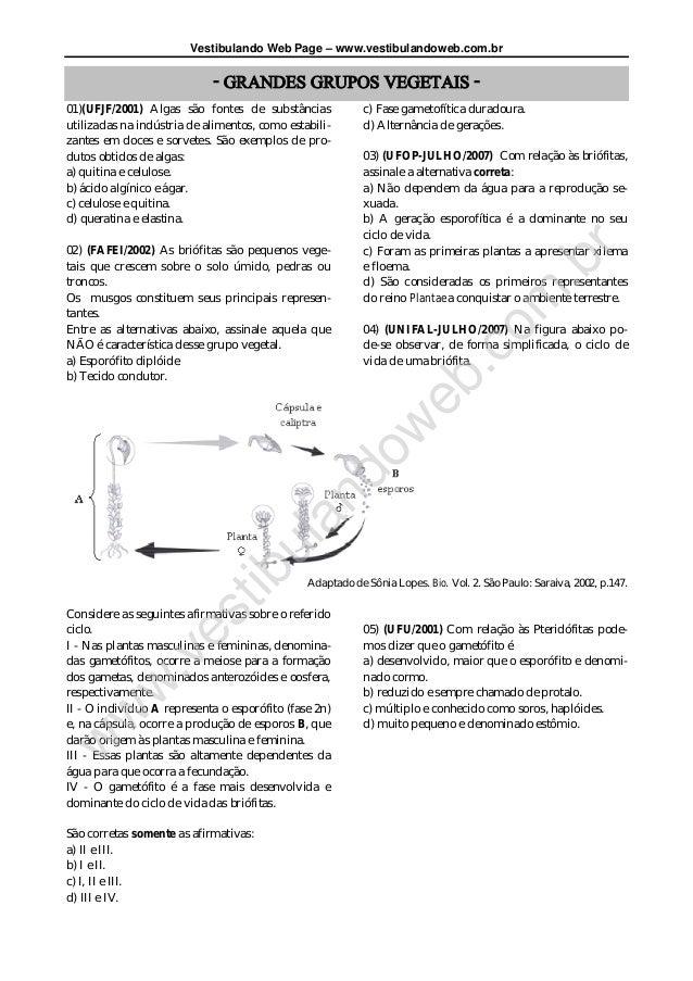 Vestibulando Web Page – www.vestibulandoweb.com.br- GRANDES GRUPOS VEGETAIS -01)(UFJF/2001) Algas são fontes de substância...
