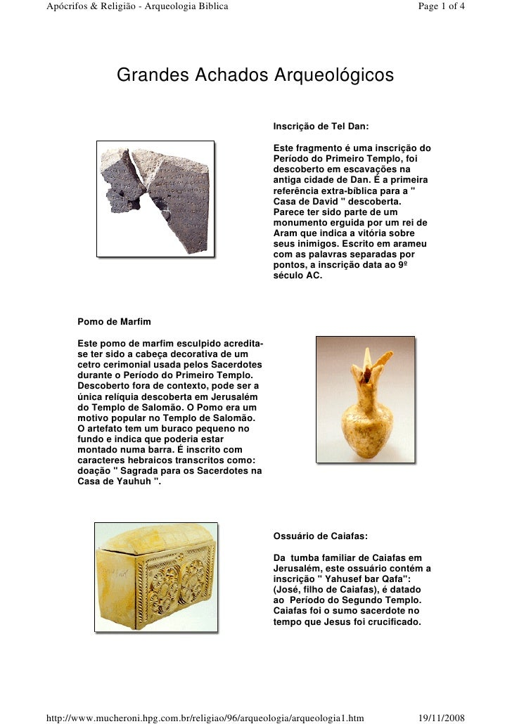 Apócrifos & Religião - Arqueologia Biblica                                        Page 1 of 4                Grandes Achad...