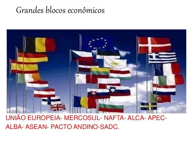 Grandes blocos econômicos  UNIÃO EUROPEIA- MERCOSUL- NAFTA- ALCA- APEC-ALBA-  ASEAN- PACTO ANDINO-SADC.