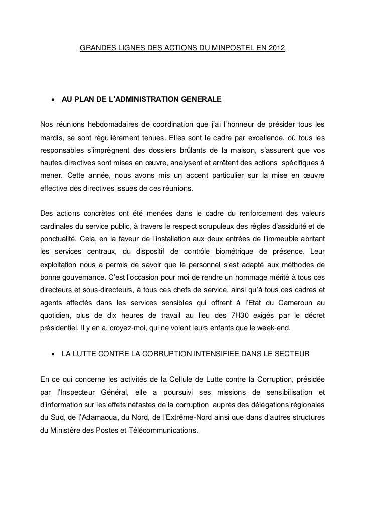 GRANDES LIGNES DES ACTIONS DU MINPOSTEL EN 2012    AU PLAN DE L'ADMINISTRATION GENERALENos réunions hebdomadaires de coor...