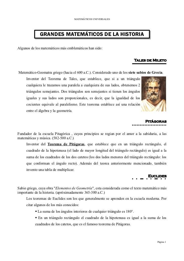 MATEMÁTICOS UNIVERSALES              GRANDES MATEMÁTICOS DE LA HISTORIA              GRANDES MATEMÁTICOS DE LA HISTORIAAlg...