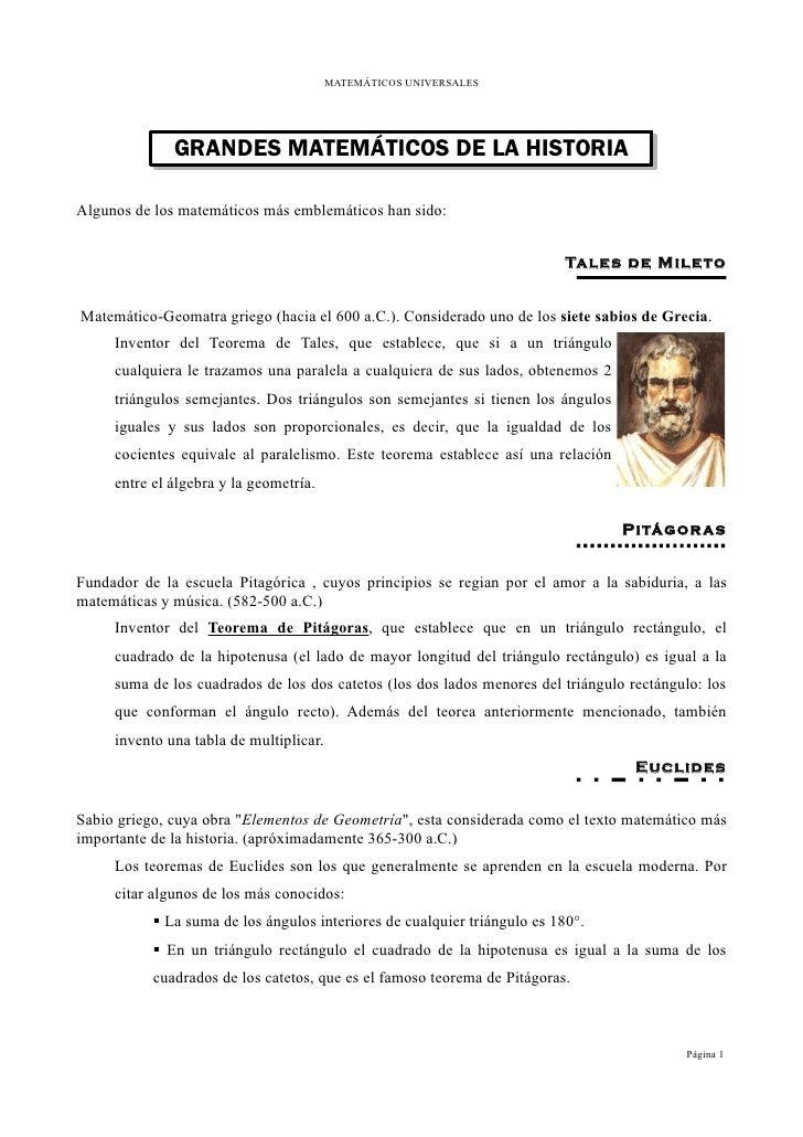MATEMÁTICOS UNIVERSALES              GRANDES MATEMÁTICOS DE LA HISTORIAAlgunos de los matemáticos más emblemáticos han sid...