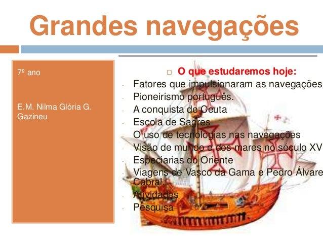 Grandes navegações 7º ano E.M. Nilma Glória G. Gazineu  O que estudaremos hoje: - Fatores que impulsionaram as navegações...
