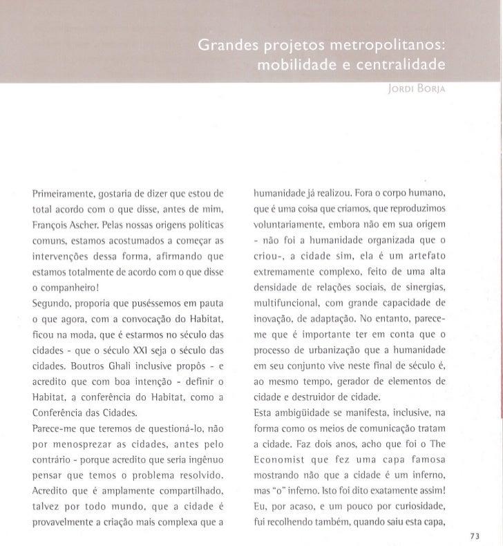 Jordi Borja - Grandes Projetos de mobilidade e centralidadede