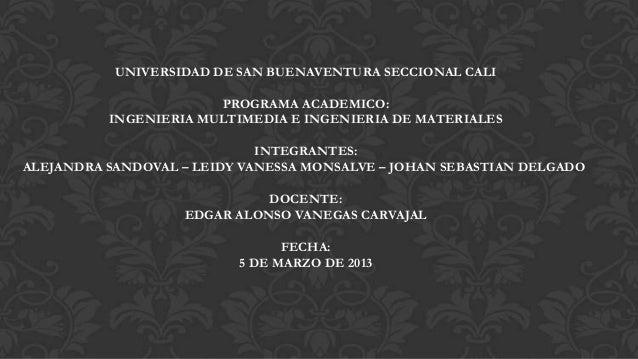 UNIVERSIDAD DE SAN BUENAVENTURA SECCIONAL CALI                       PROGRAMA ACADEMICO:          INGENIERIA MULTIMEDIA E ...