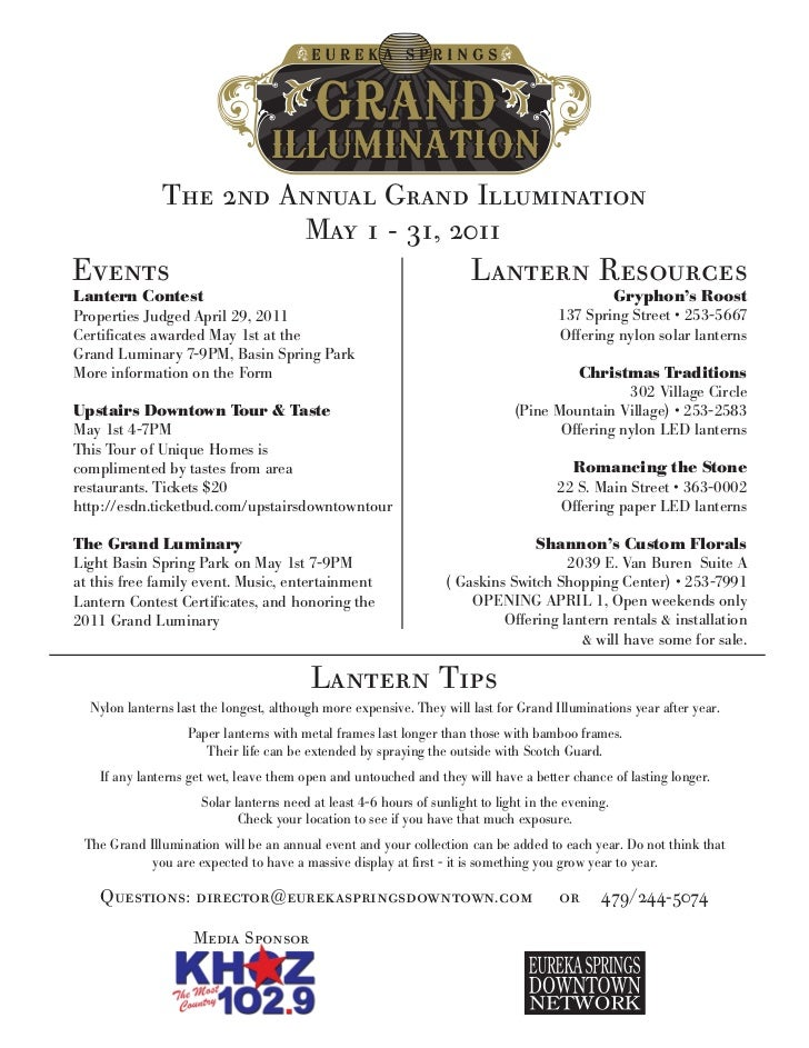 The 2nd Annual Grand Illumination                        May 1 - 31, 2011Events                                           ...