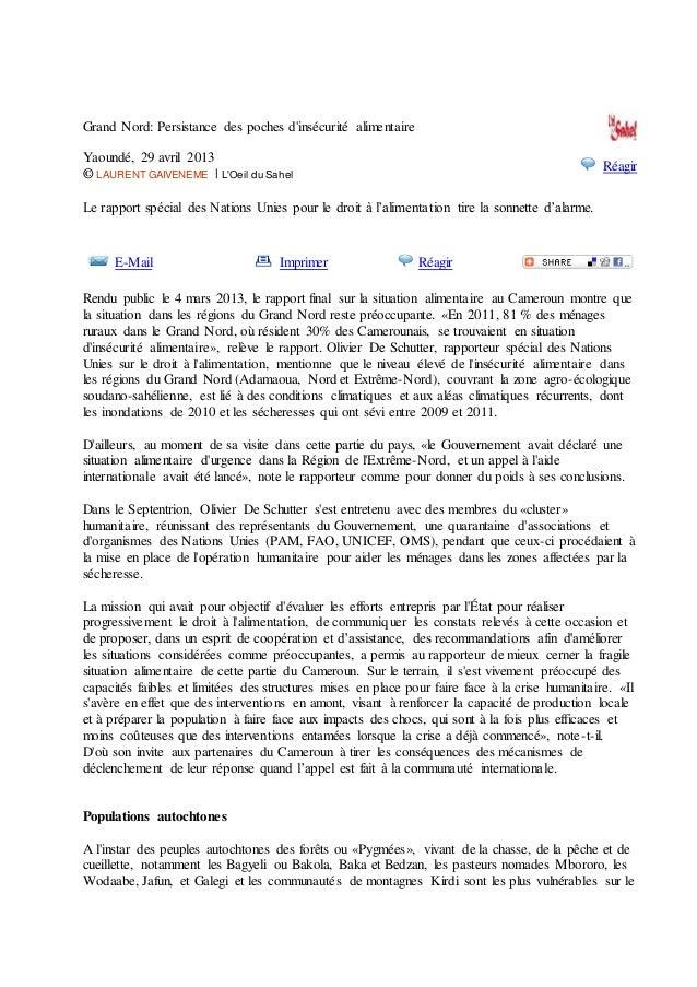 Grand Nord: Persistance des poches d'insécurité alimentaire Yaoundé, 29 avril 2013 © LAURENT GAIVENEME | L'Oeil du Sahel R...