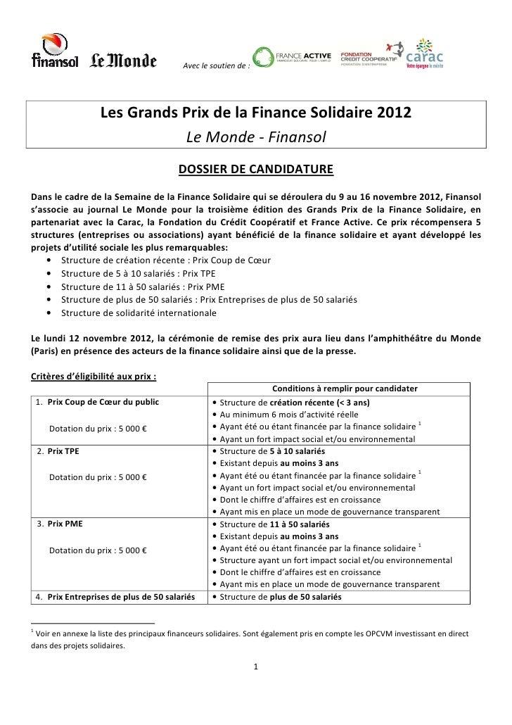 Avec le soutien de :                     Les Grands Prix de la Finance Solidaire 2012                                Le Mo...