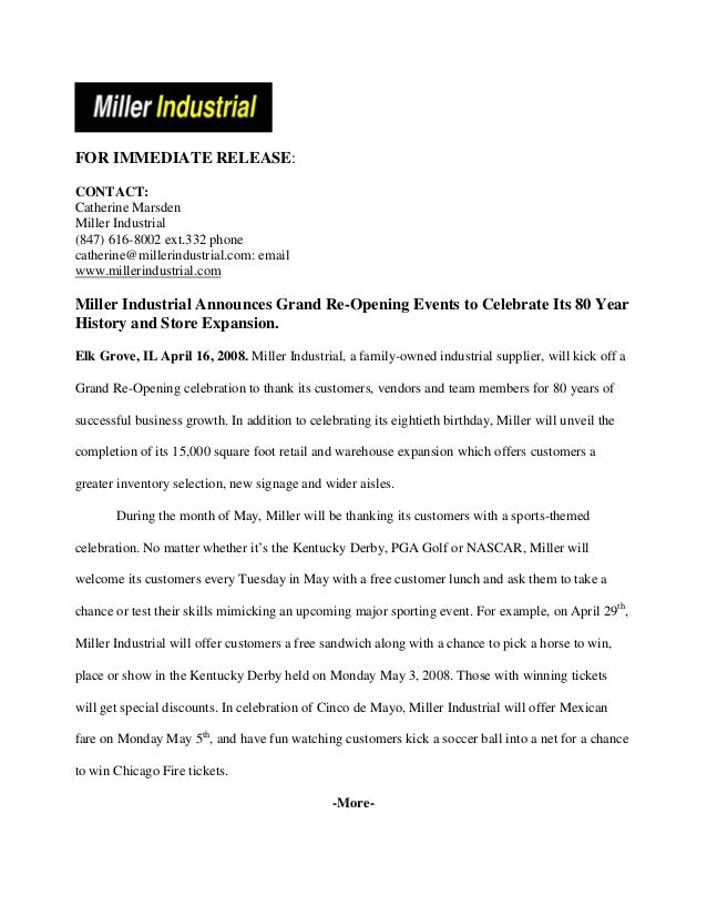 Grand re opening pressrelease 2 for Acquisition press release template