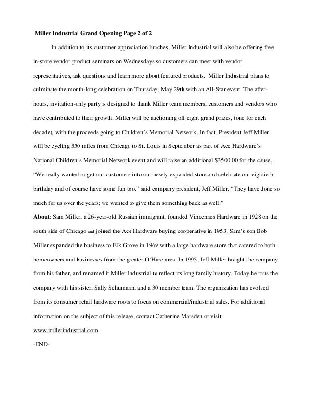 Grand Opening Press Release Example