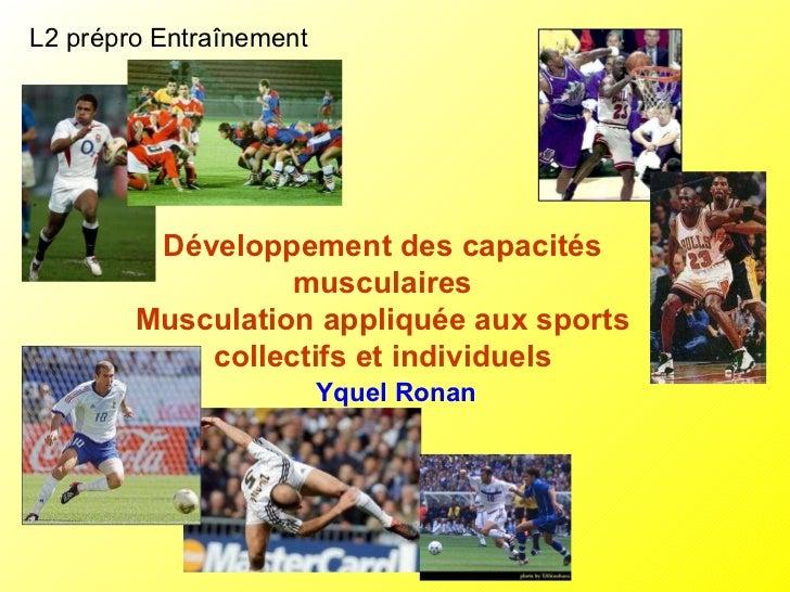 L2 prépro Entraînement Développement des capacités musculaires Musculation appliquée aux sports collectifs et individuels ...