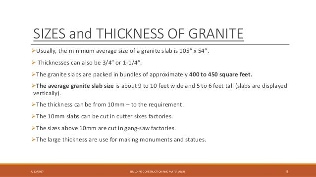 Bon ... 5. SIZES And THICKNESS OF GRANITE ...