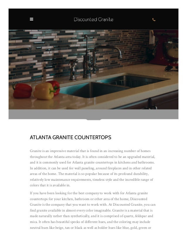 ATLANTA GRANITE COUNTERTOPS Granite Is An Impressive Material That Is Found  In An Increasing Number Of ...