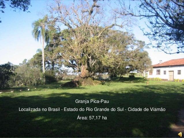 Granja Pica-Pau Localizada no Brasil - Estado do Rio Grande do Sul - Cidade de Viamão Área: 57,17 ha
